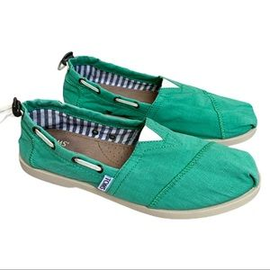 Toms sperry inspired canvas flats in green